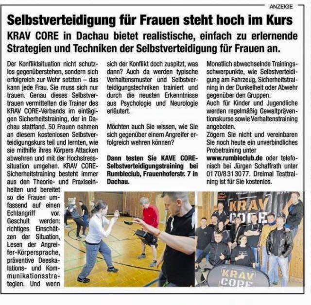 Zeitungsartikel Frauenselbstverteidigungskurs